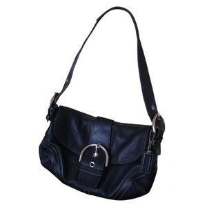 Black Leather Coach Small Hobo Bag